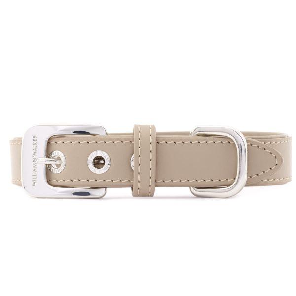 Hundehalsband Glattleder Sand   Silber   L