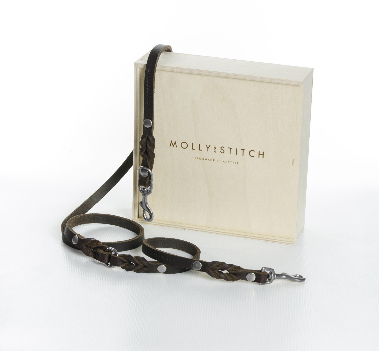 Hundeleine Silber-butter-2x-adjustable-dog-leash-classic-brown