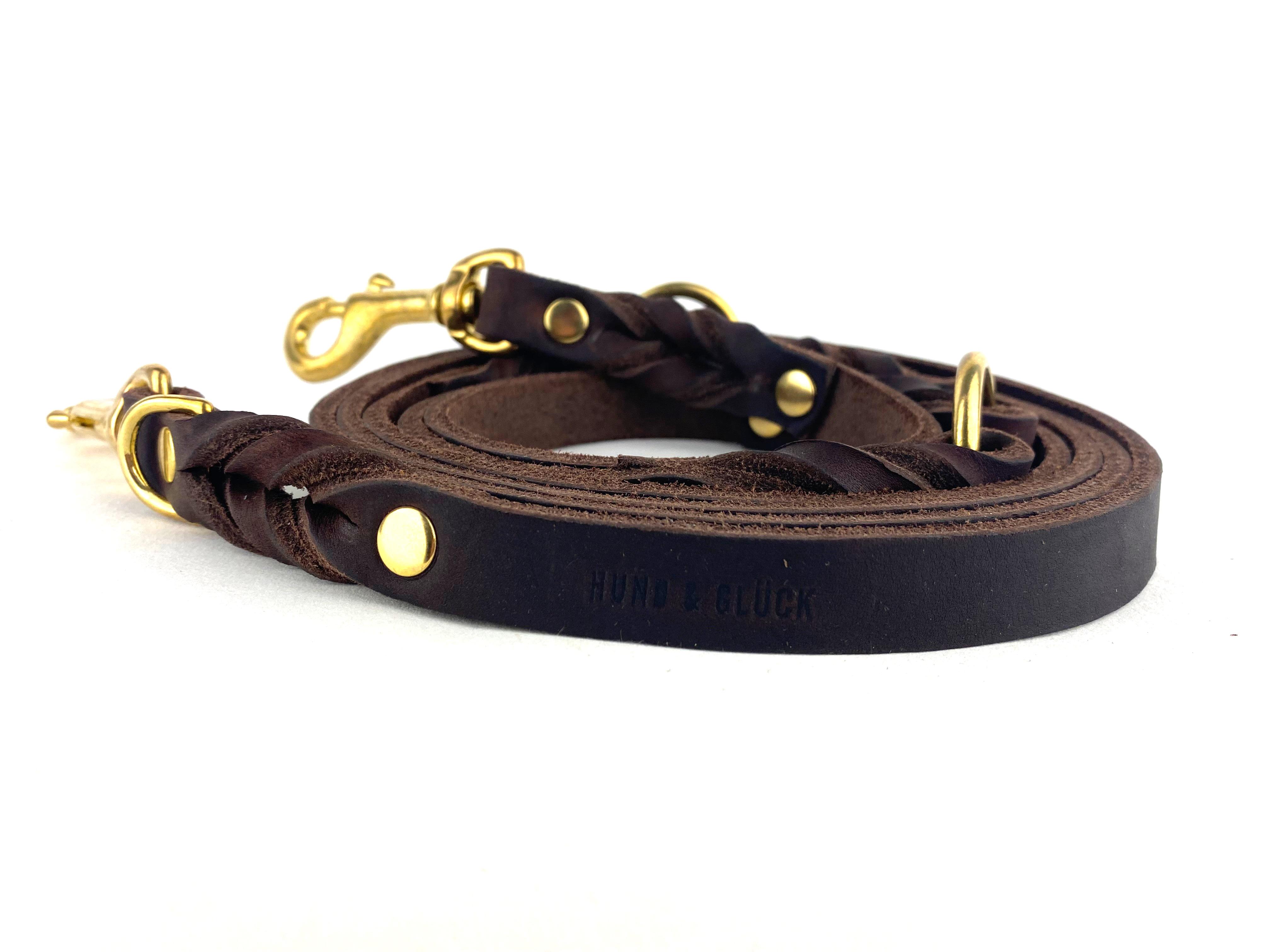 Hundeleine HundundGlück Puppy Leder Classic Brown 240cm 3fach verstellbar