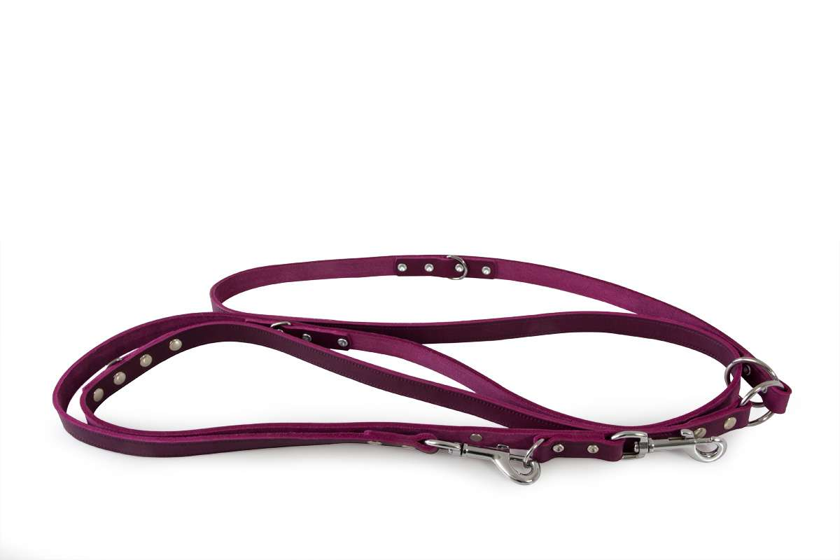 Hundelederleine-violet-Huggy-extra-lang-3meter