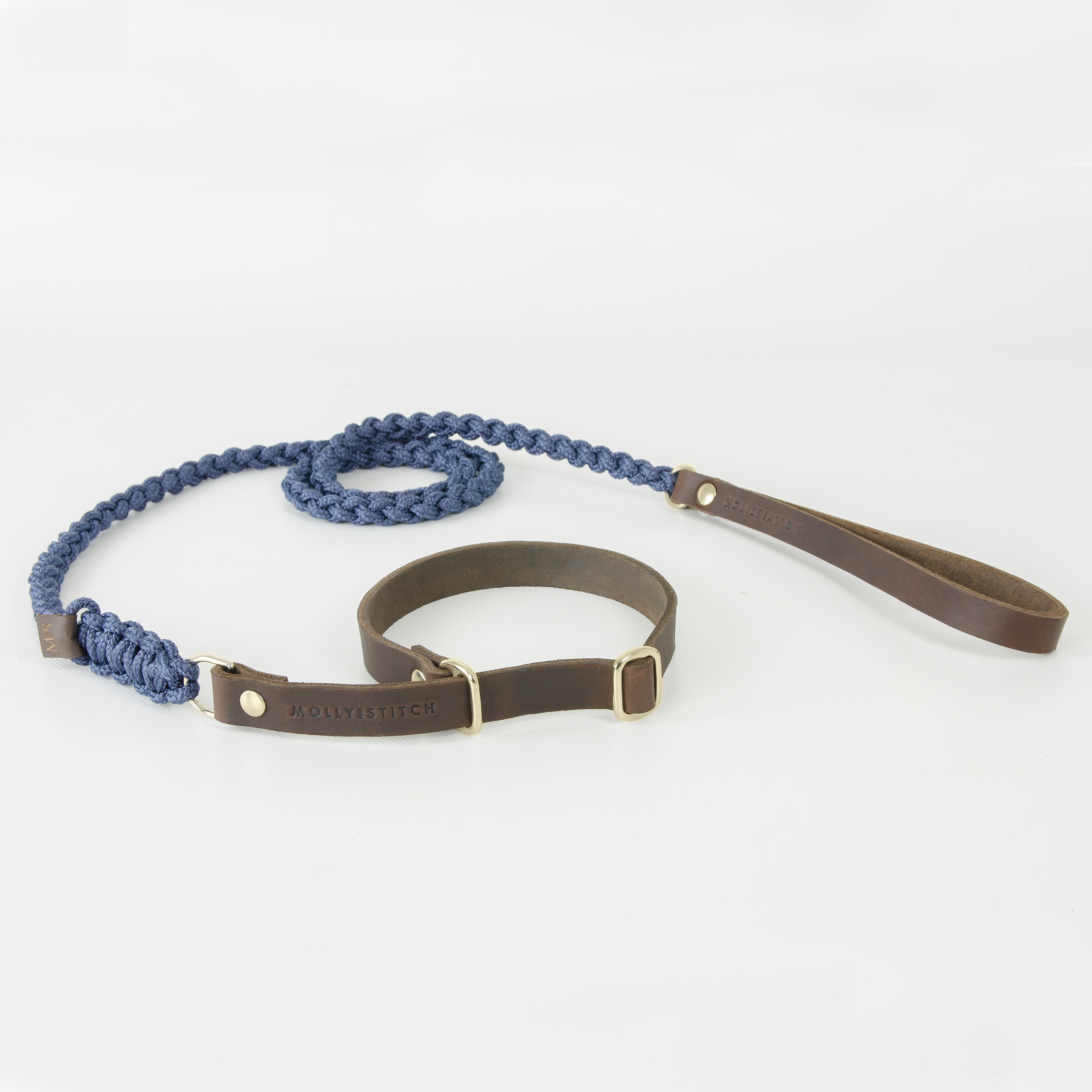 Hundeleine Retriever gold navy Touch of Leather