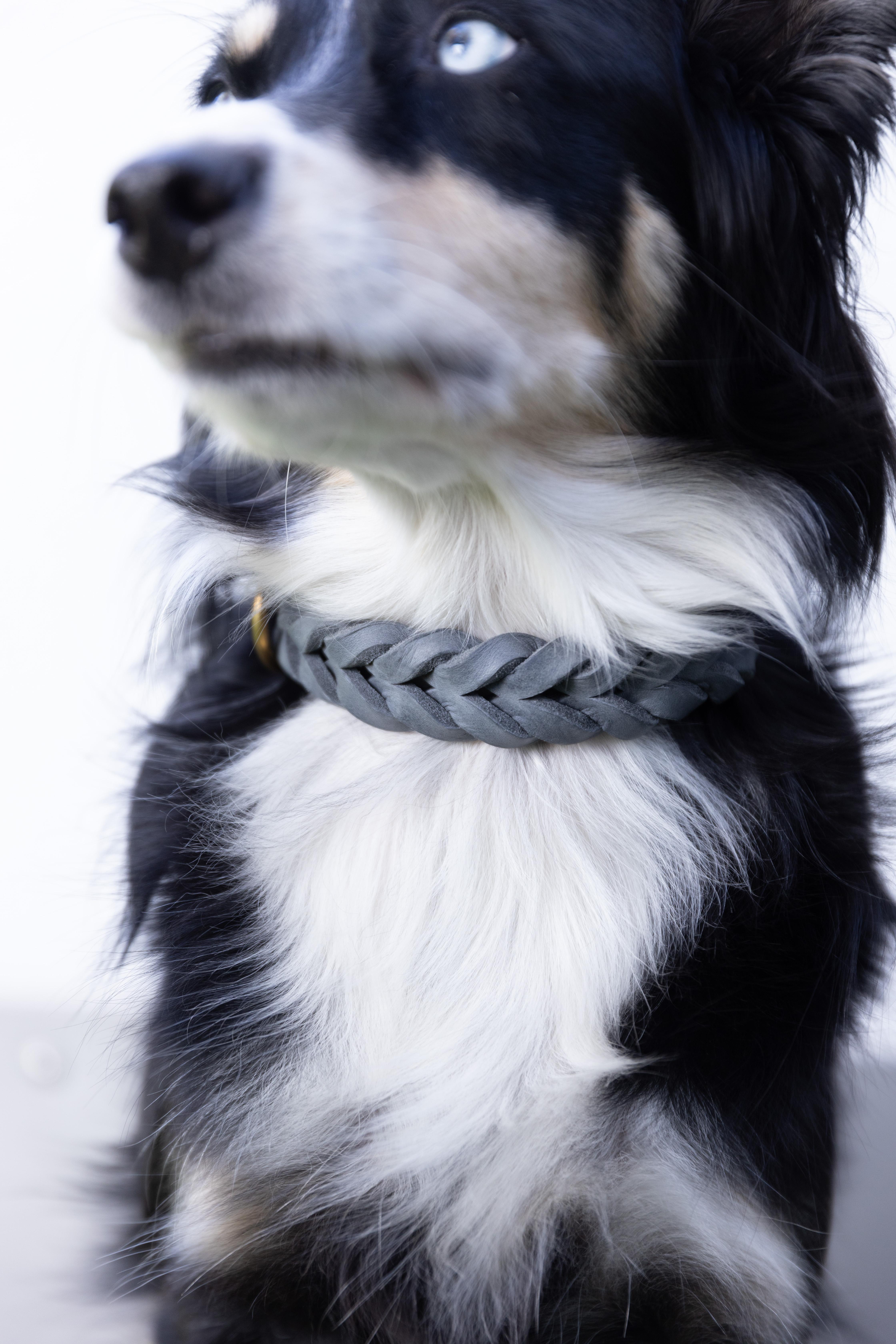 Hund&Glück Halsband Puppy   Leder geflochten   Grey XS