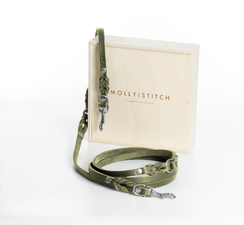 Hundeleine butter-3x-silver -adjustable-dog-leash-olive-tree-green