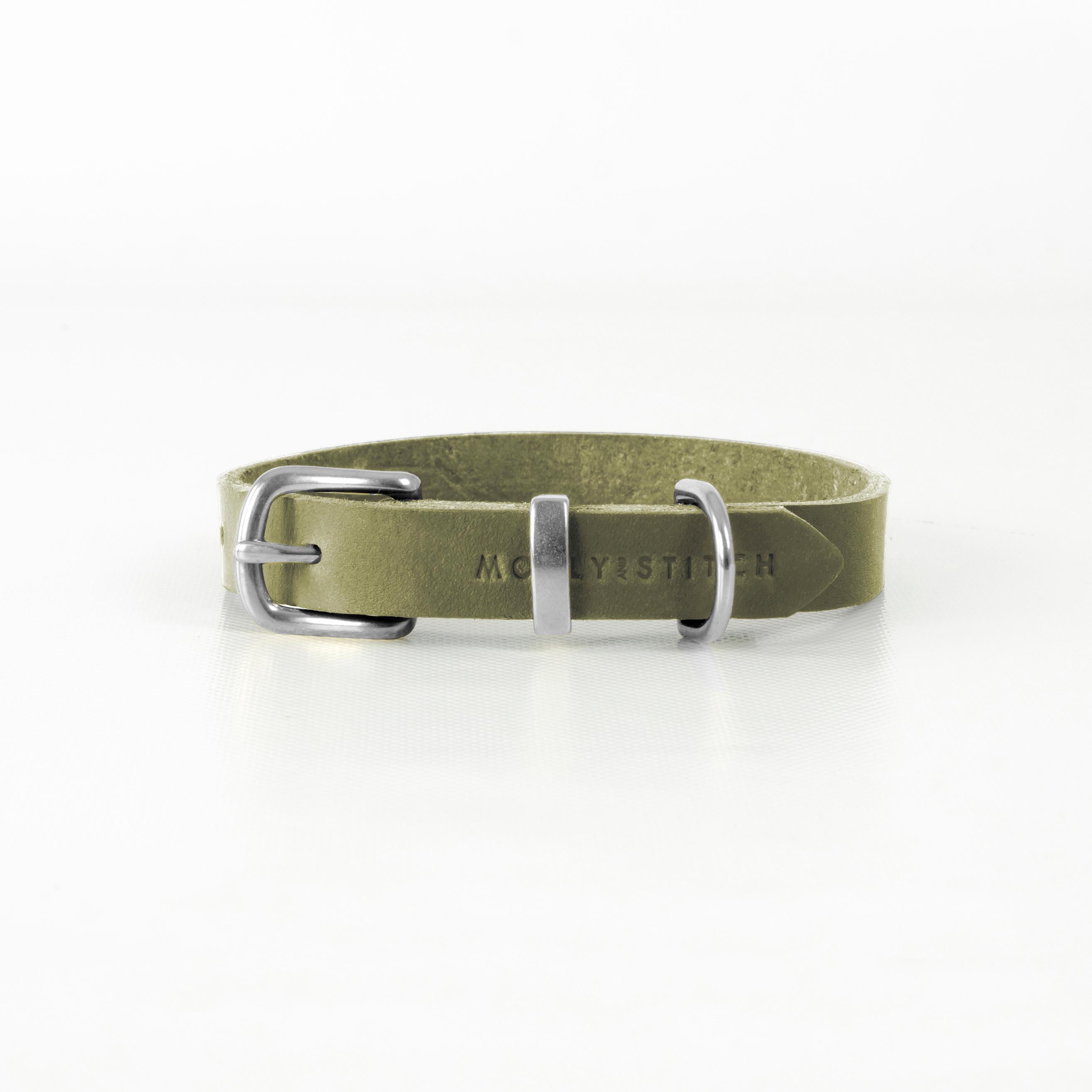 Hundehalsband Butter Olive green Silber